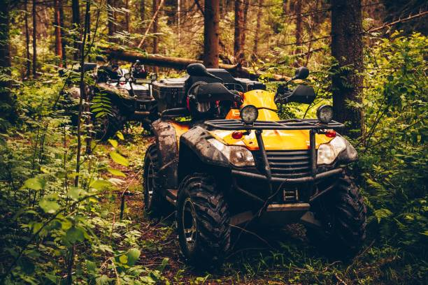 ATV Quad Bike in wild nature landscape ATV Quad Bike in wild nature summer landscape quadbike stock pictures, royalty-free photos & images