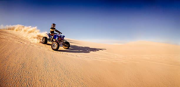 Quad biker racing downhill in a desert race Professional quad biker racing downhill over a sand dune in a desert race quadbike stock pictures, royalty-free photos & images
