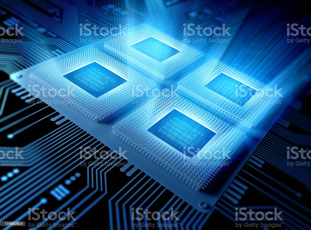 Quad Core Computer chips / CPU concept stock photo