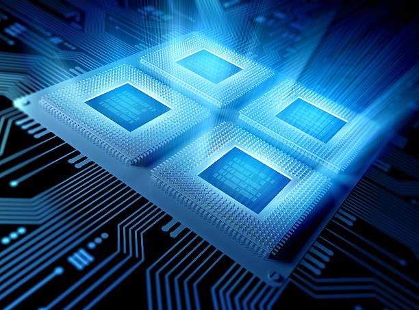 Quad Core Computer chips / CPU concept stock photo