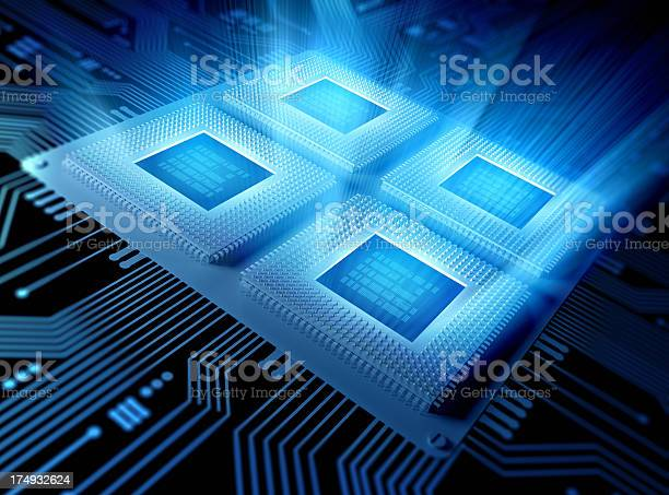 Quad Core Computer Chips Cpu Concept Stock Photo - Download Image Now