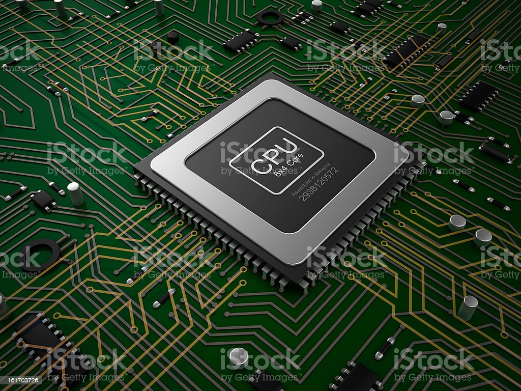 Quad core CPU on motherboard. stock photo