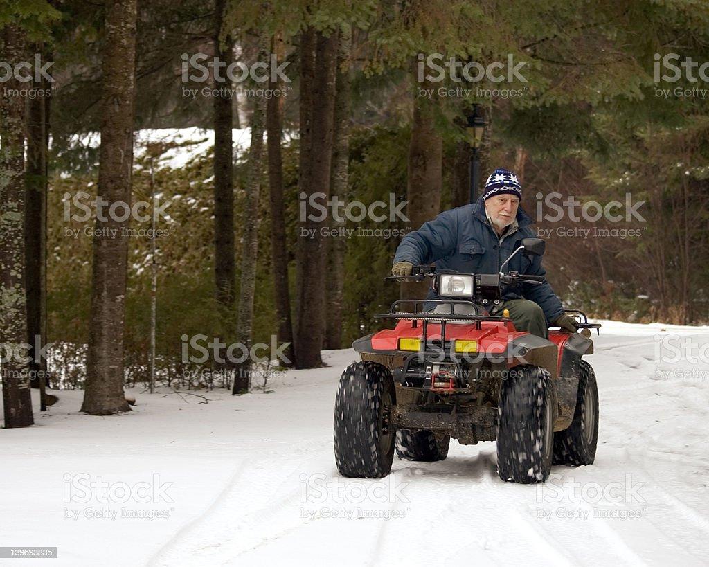 ATV quad senior rider stock photo