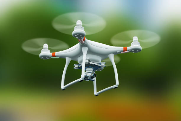 Quadcopter drone with 4K video camera flying in the air Creative abstract 3D render illustration of professional remote controlled wireless RC quadcopter drone with 4K video and photo camera for aerial photography flying in the air outdoors with selective focus effect drone point of view stock pictures, royalty-free photos & images