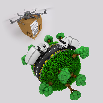 3d render of a quadcopter drone with parcel flying over grassy globe with trucks