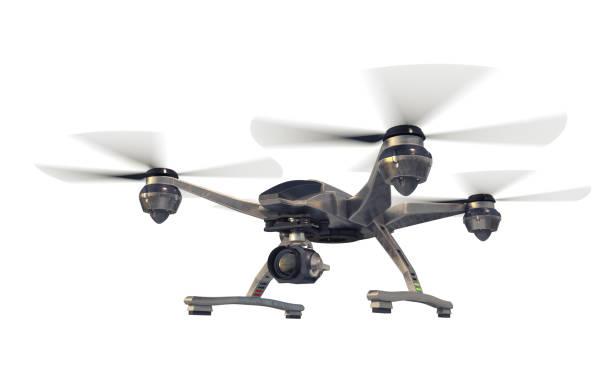 카메라가 있는 쿼드콥터 - 무인 항공기 뉴스 사진 이미지