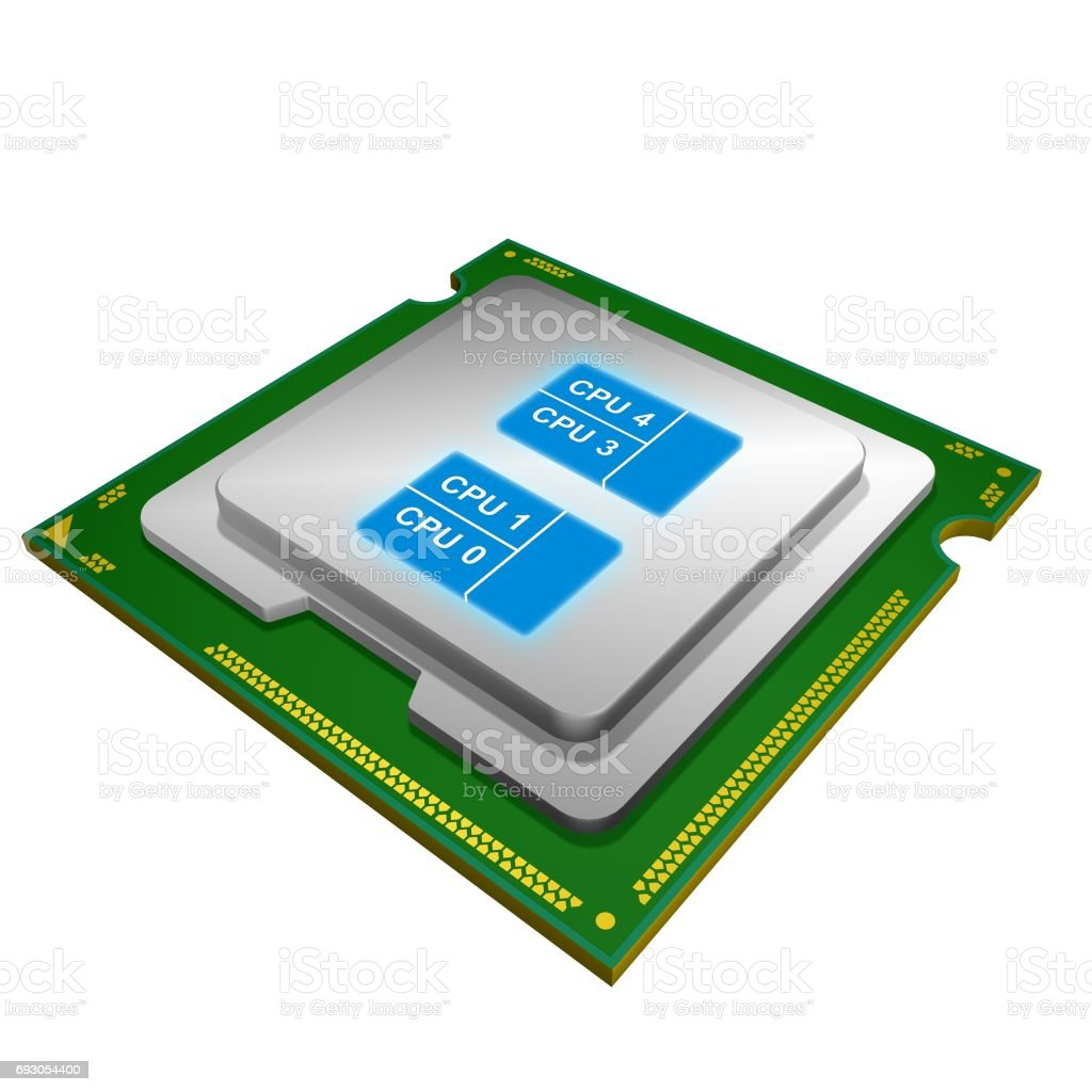Quad-core Computer Processor stock photo