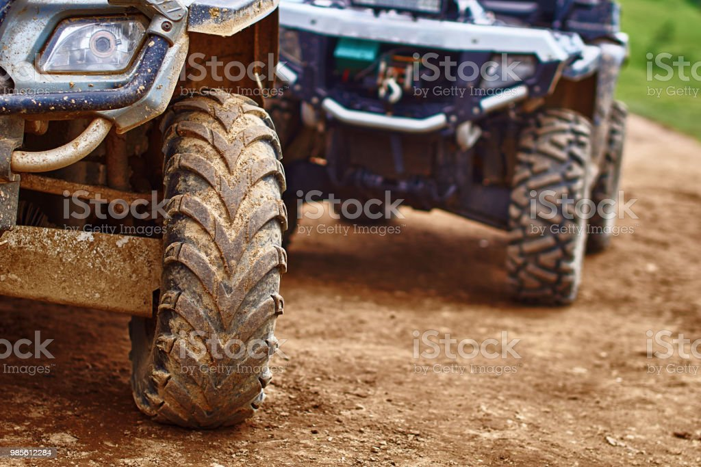 Quadricycles or quadbikes in the summer mountains stock photo