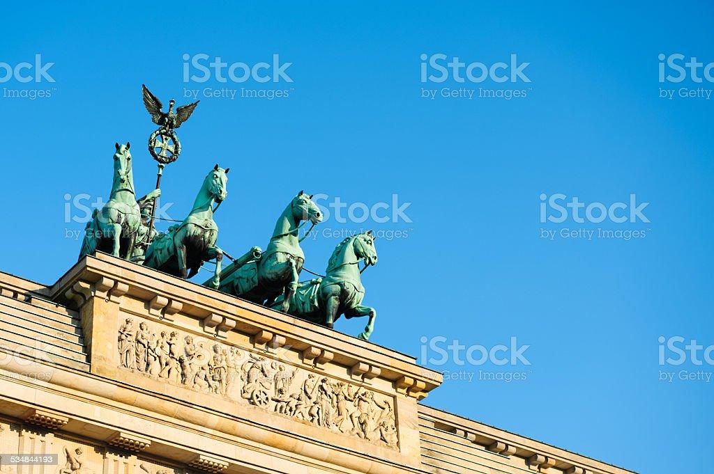 Quadriga on top of Brandenburg Gate in Berlin, text space stock photo