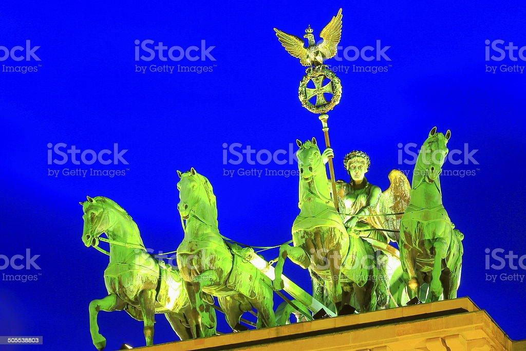 Quadriga Statue illuminated at night, Brandenburg gate, Berlin stock photo