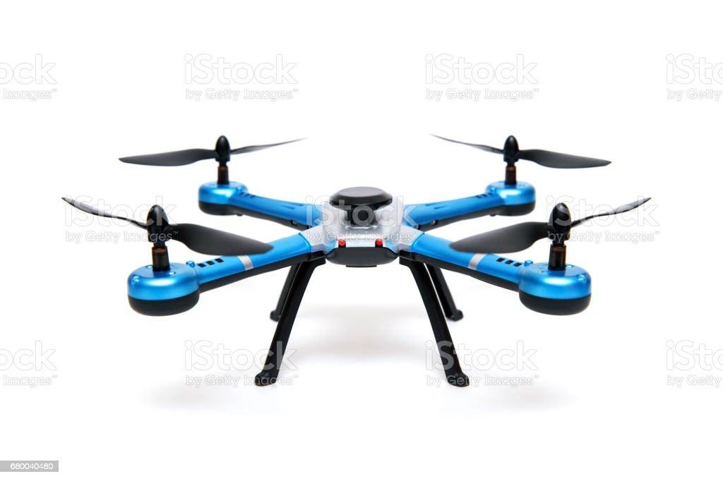 Quadrocopter drone isolated on white background stock photo