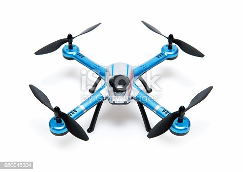 Quadrocopter drone isolated on white background