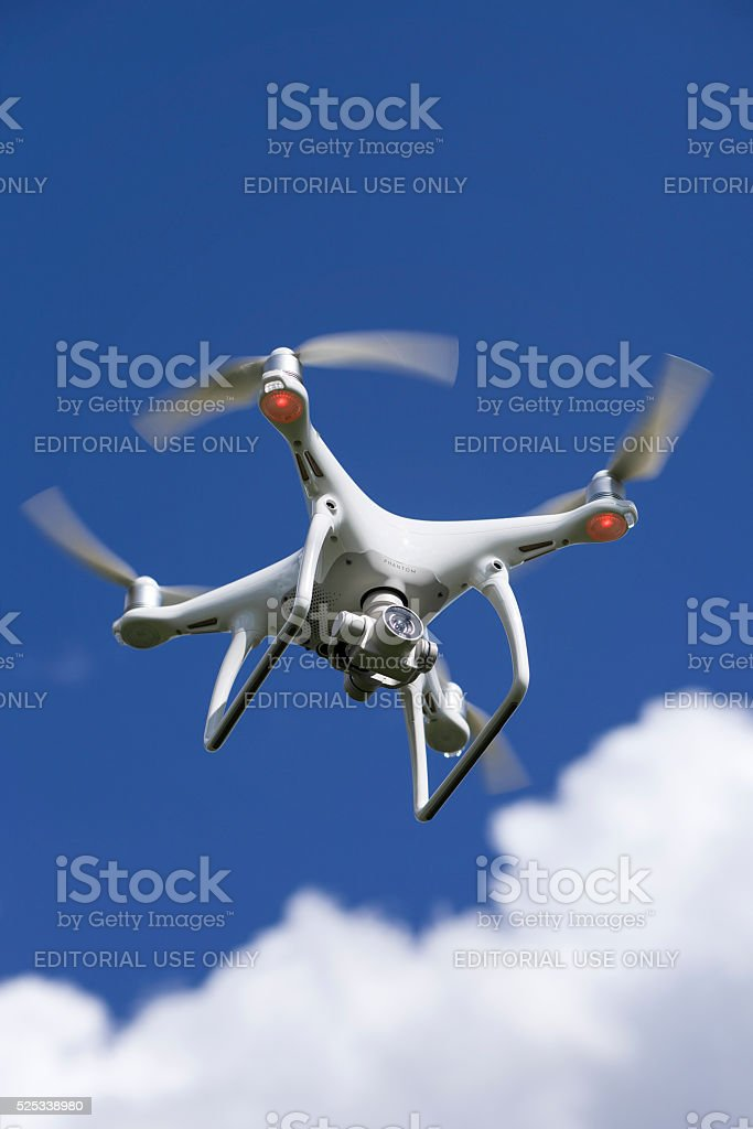 Quadrocopter drone Phantom 4 of DJ Innovations stock photo