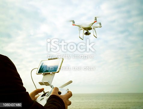 Mersin, Turkey - October 07, 2018: A quadrocopter Phantom 4 of Chinese technology company DJI with high resolution camera and 4K video.