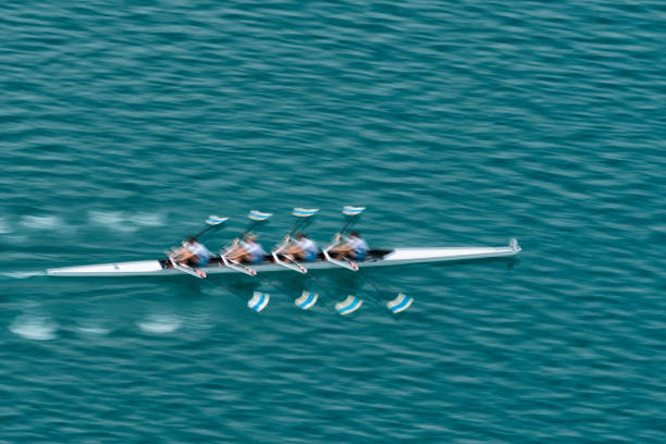 quadruple scull rowing team practicing, blurred motion - sports team stock photos and pictures