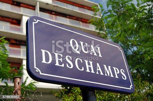 Quai Deschamps sign in Bordeaux, France.