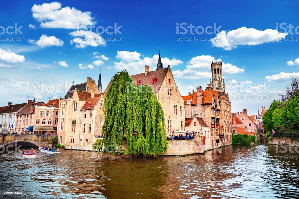 Quai of the Rosary in Bruges, Belgium stock photo