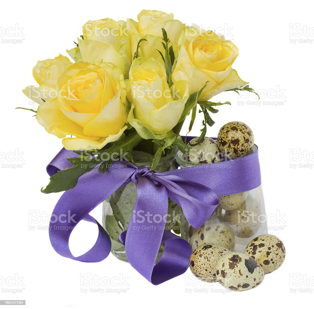 quail  eggs and roses for easter royalty-free stock photo