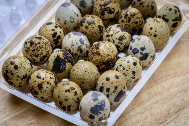 Quail Eggs as morning breackfast. stock photo