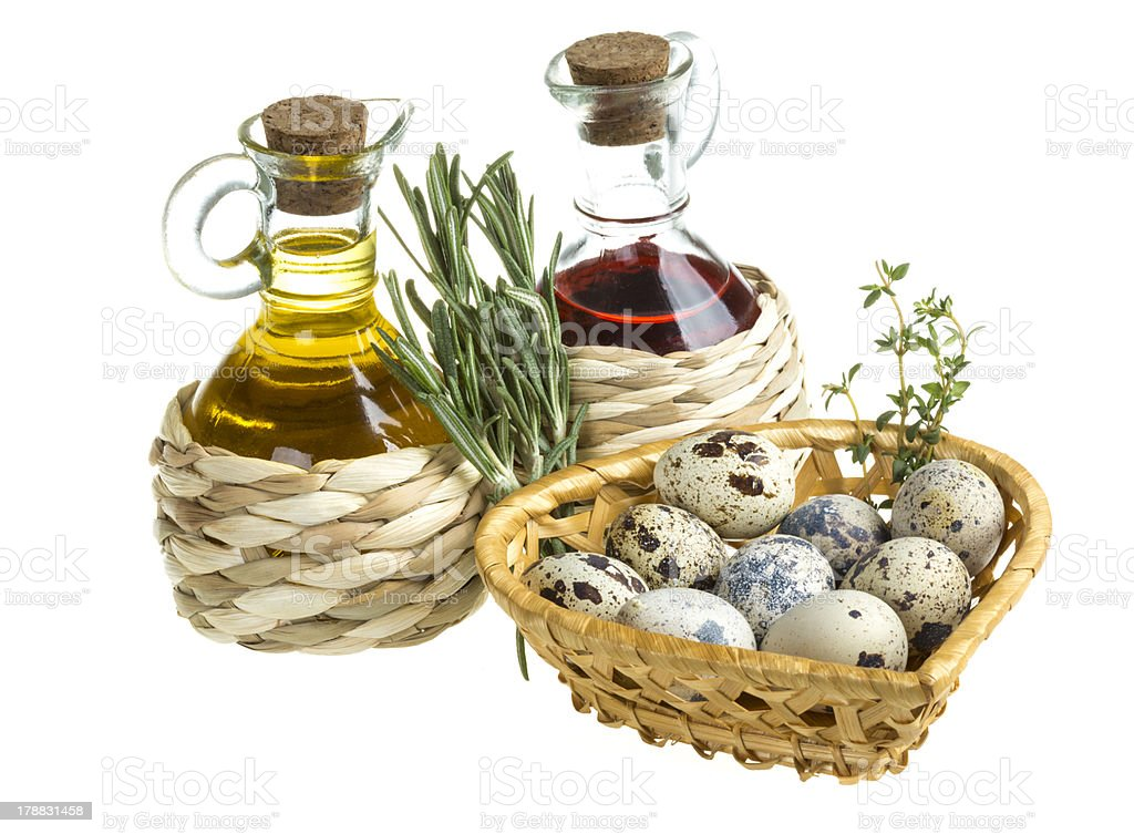 quail eggs in a basket royalty-free stock photo