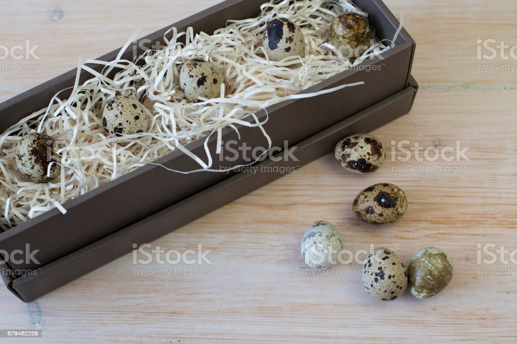 Quail eggs in a box photo royalty-free stock photo