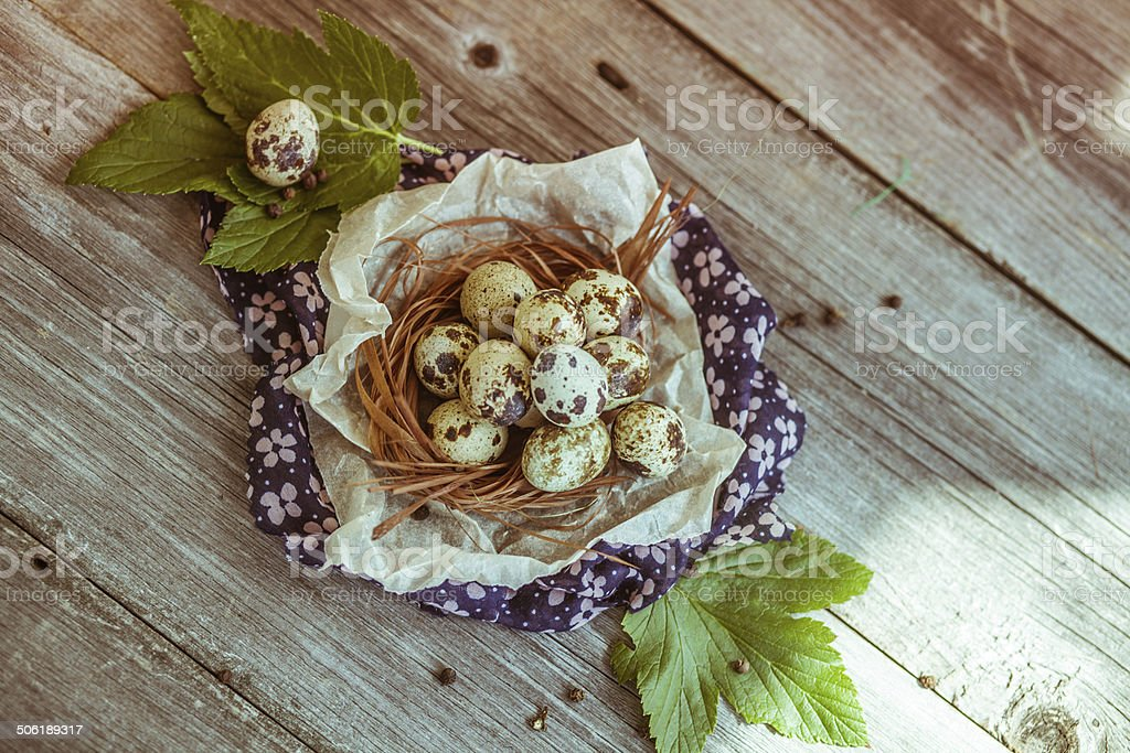 Quail eggs on the wooden table royalty-free stock photo