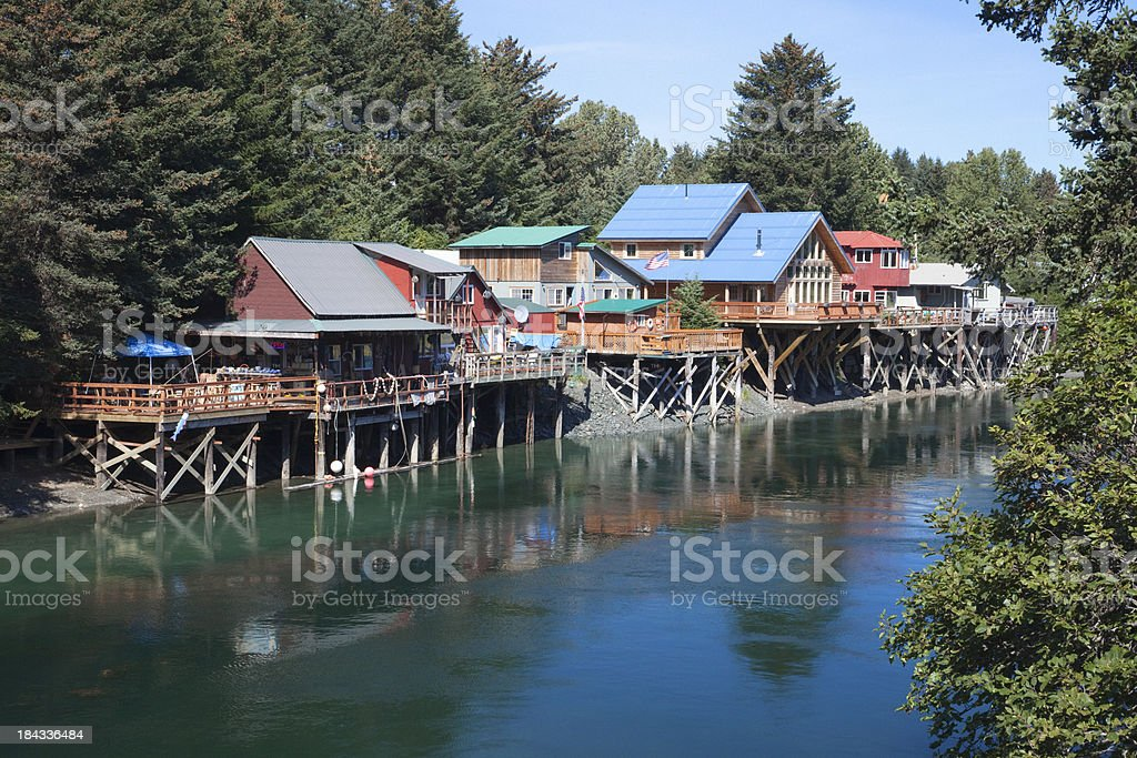 Quaint, colorful Houses and stores in 'Old Town' Seldovia Alaska stock photo