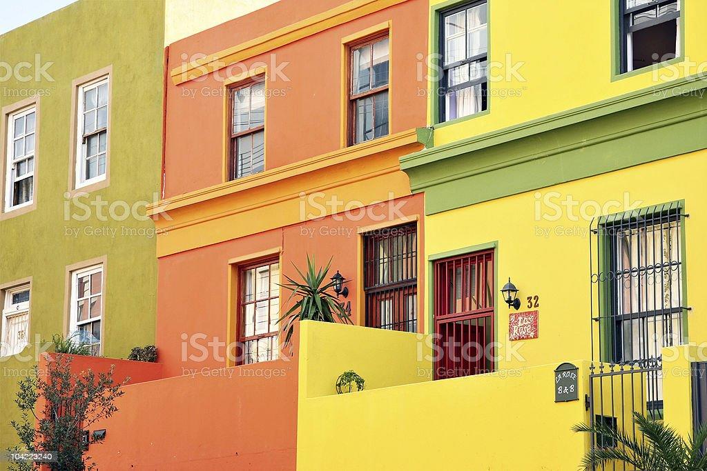 Quaint multicoloured urban rowhouses stock photo