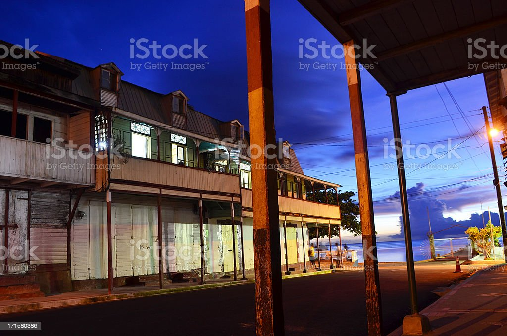 quaint old building of Soufriere town St Lucia stock photo