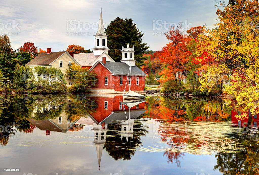 Quaint picturesque New England village in autumn stock photo