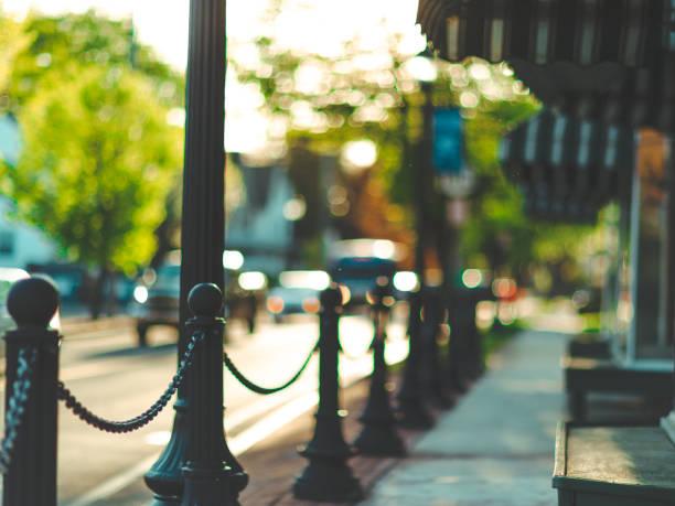 Quaint Pretty Downtown Sidewalk Background stock photo