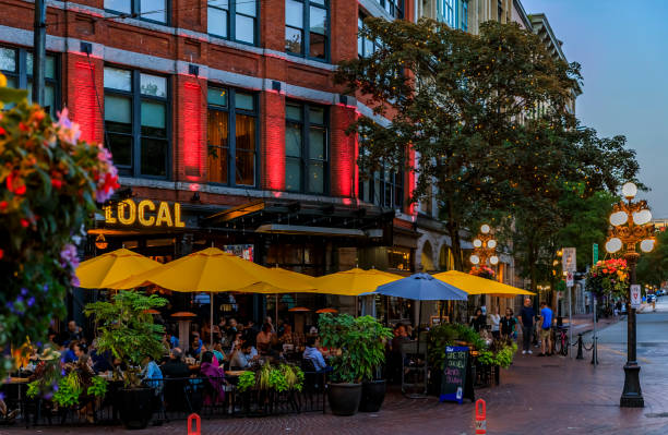 Quaint restaurant on Cambie street with outdoor seating in the Gastown heritage district in Vancouver, Canada stock photo