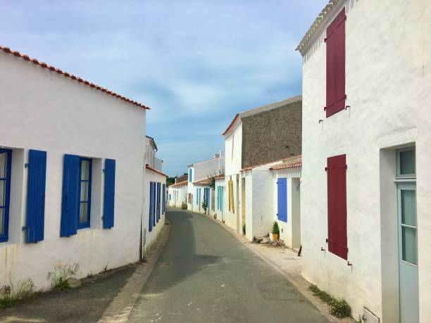 A quaint street on Île d'Yeu France. stock photo