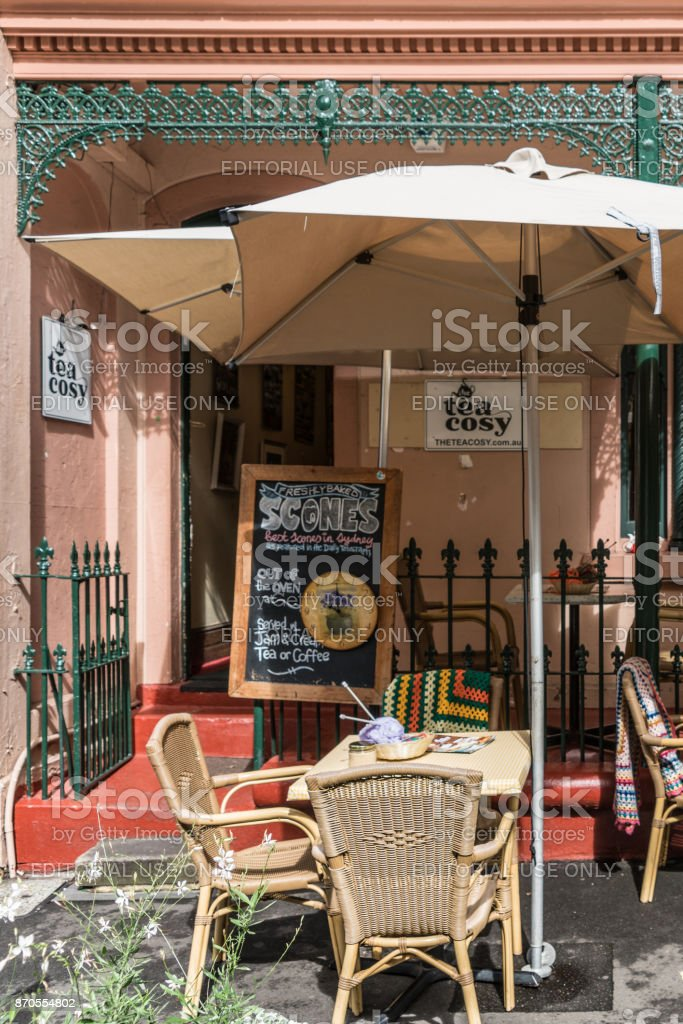Quaint tea house in The Rocks neighborhood, Sydney Australia. stock photo