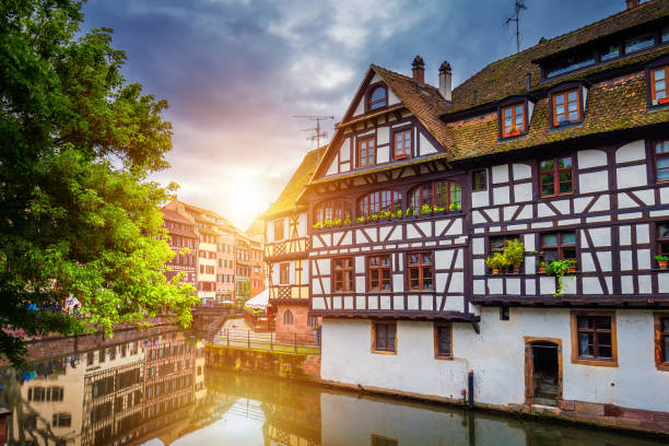 Quaint timbered houses of Petite France in Strasbourg, France. Franch traditional houses at Strasbourg, France. stock photo