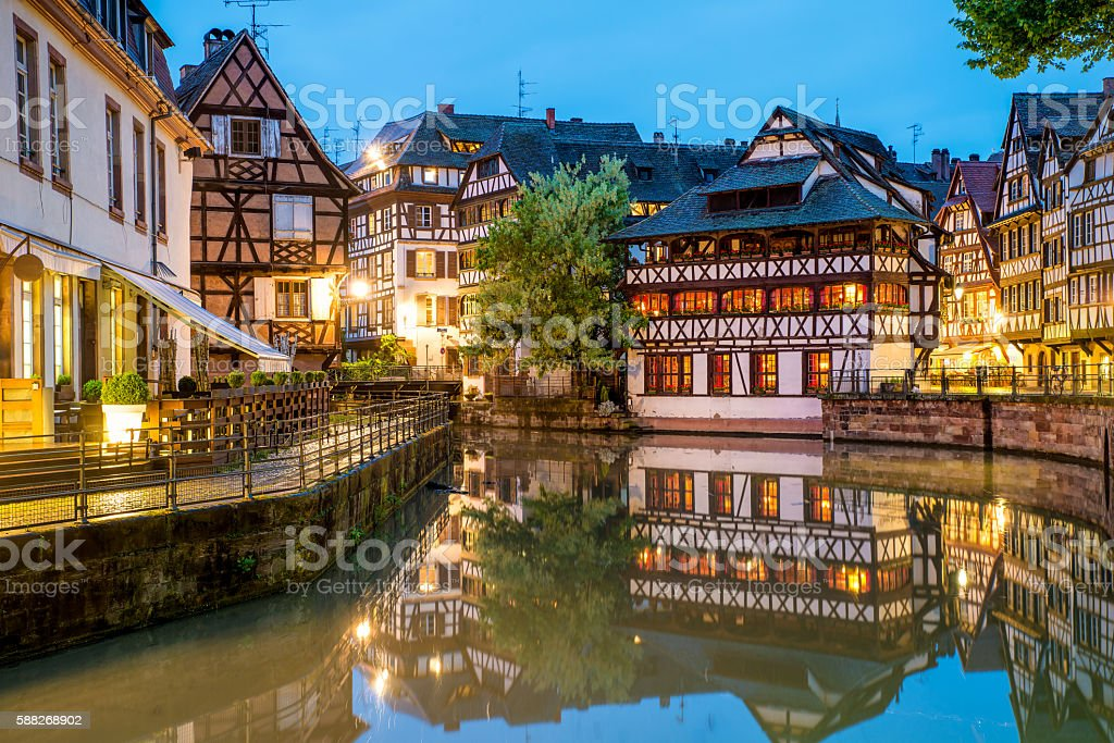 Quaint timbered houses of Petite France in Strasbourg, France. – Foto