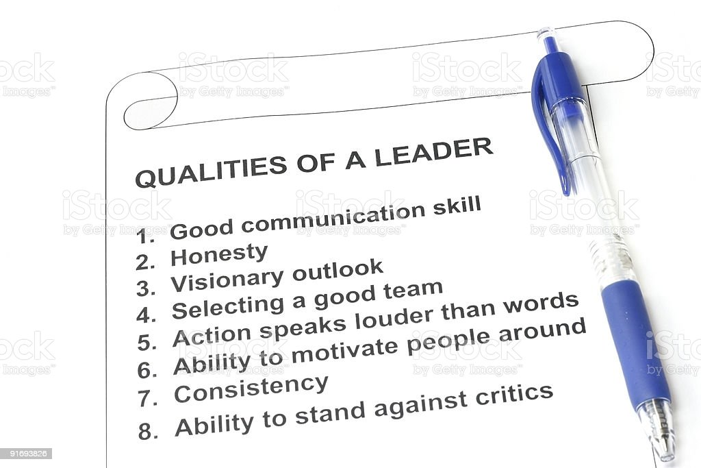 Qualities of a Leader stock photo