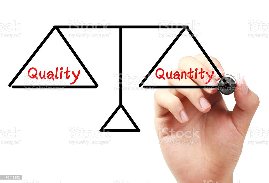 Quality and quantity balance stock photo