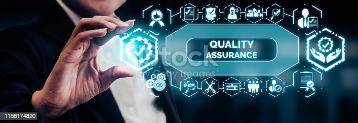 Quality Assurance and Quality Control Concept - Modern graphic interface showing certified standard process, product warranty and quality improvement technology for satisfaction of customer.