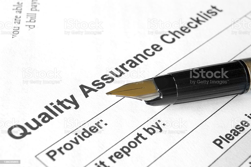 Quality assurance checklist stock photo