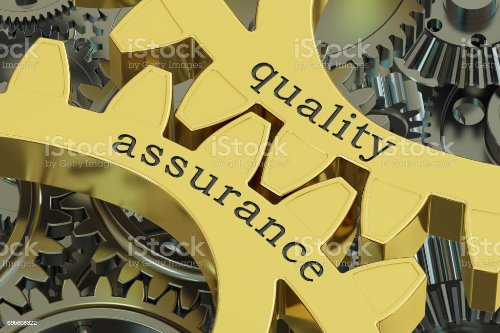 Quality Assurance concept on the gearwheels, 3D rendering stock photo