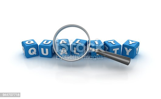 istock Quality Buzzword Cubes with Magnifying Glass - 3D Rendering 944707718