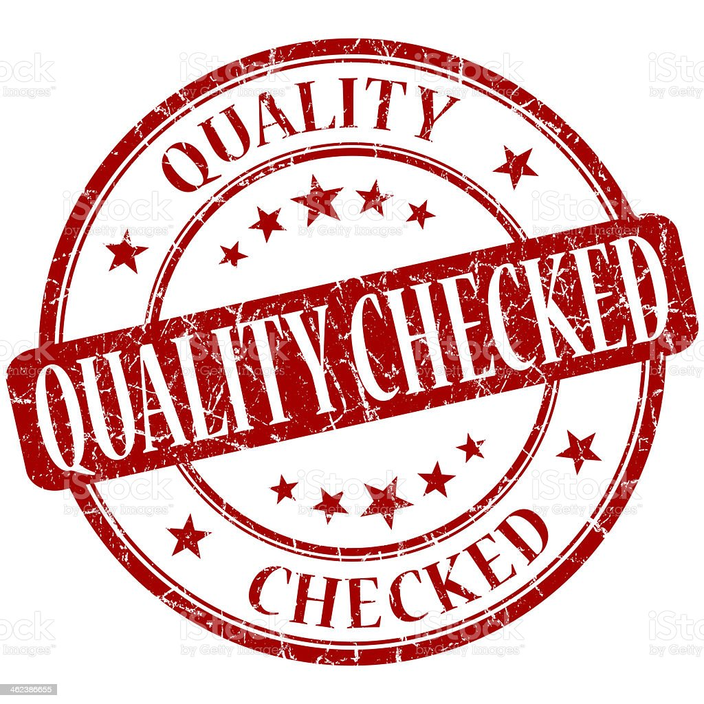 Quality checked grunge red round stamp stock photo