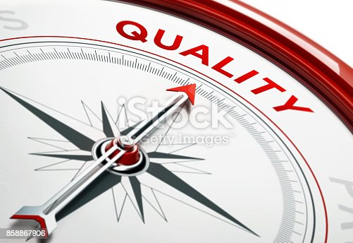 836284468 istock photo Quality Concept: Arrow of A Compass Pointing Quality Text 858867906