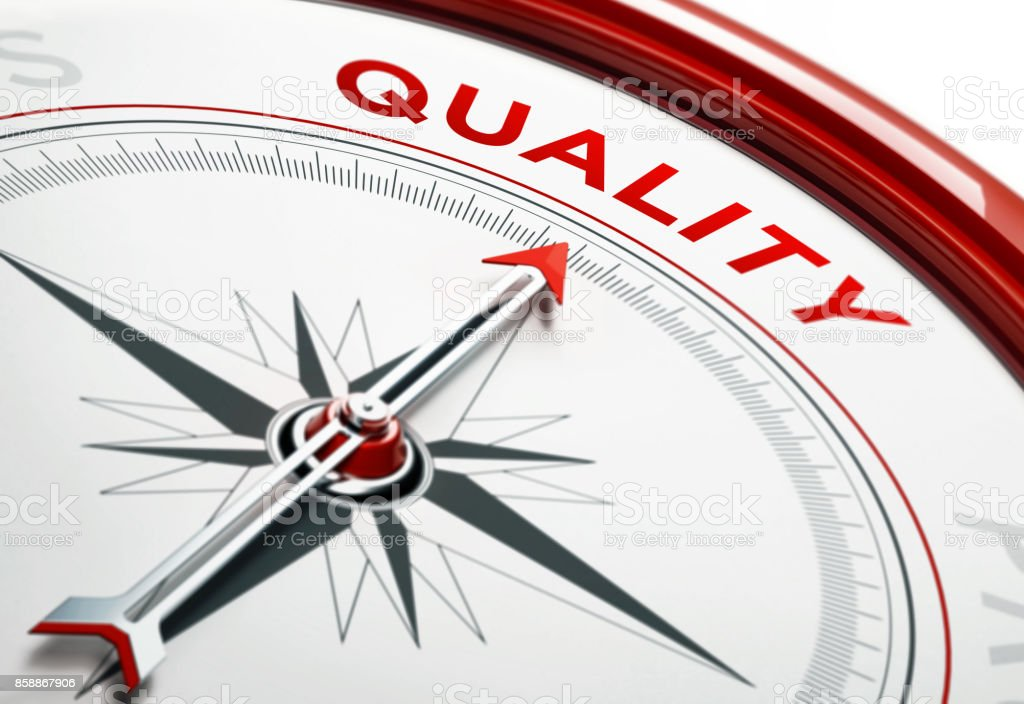 Concepto de calidad: Flecha de una brújula apunta calidad texto - foto de stock