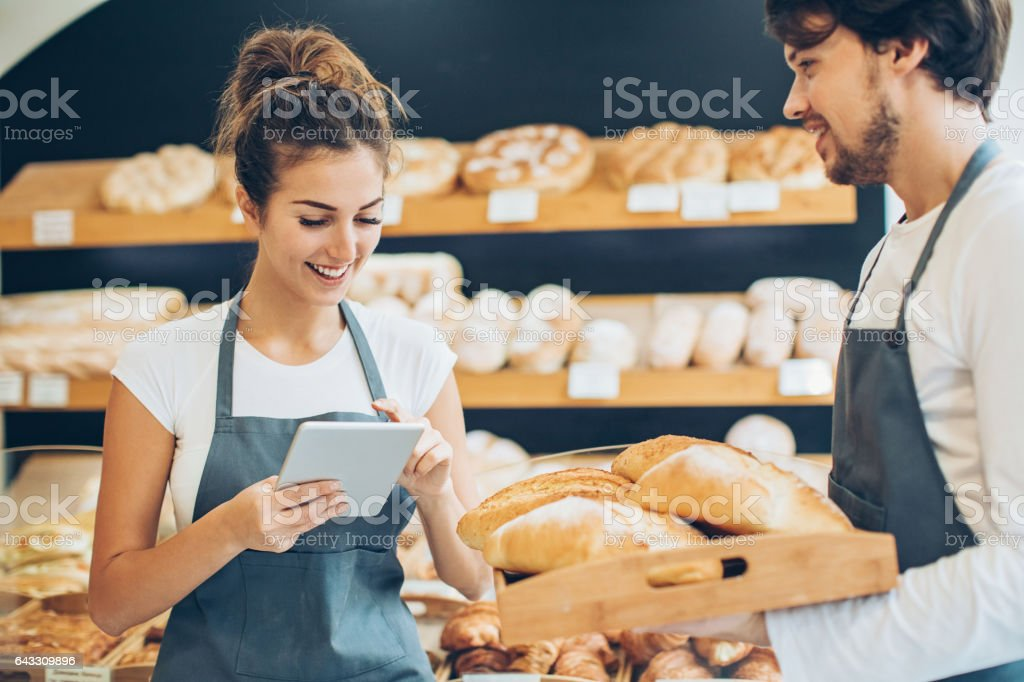Quality control in the bakery stock photo