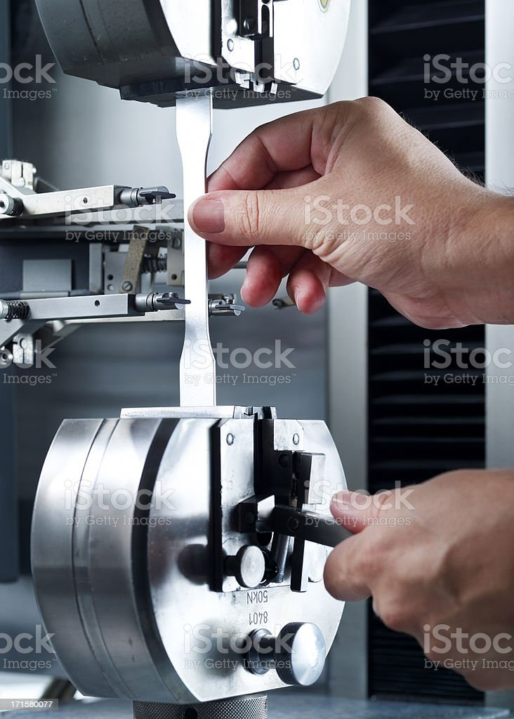 Quality control, material testing machine. stock photo