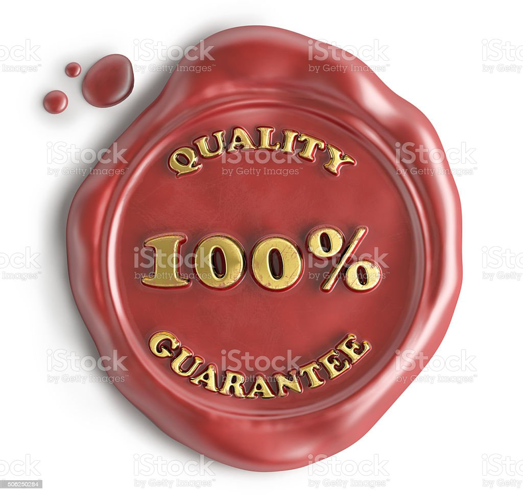 quality guarantee seal wax stock photo