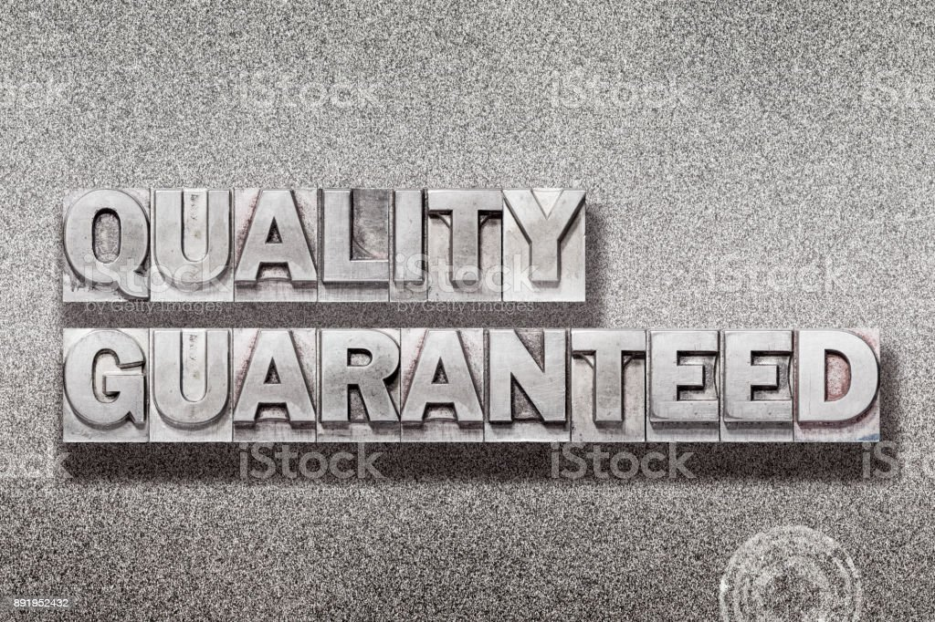 quality guaranteed on metallic stock photo