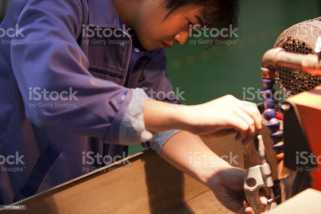 quality inspection during machining royalty-free stock photo